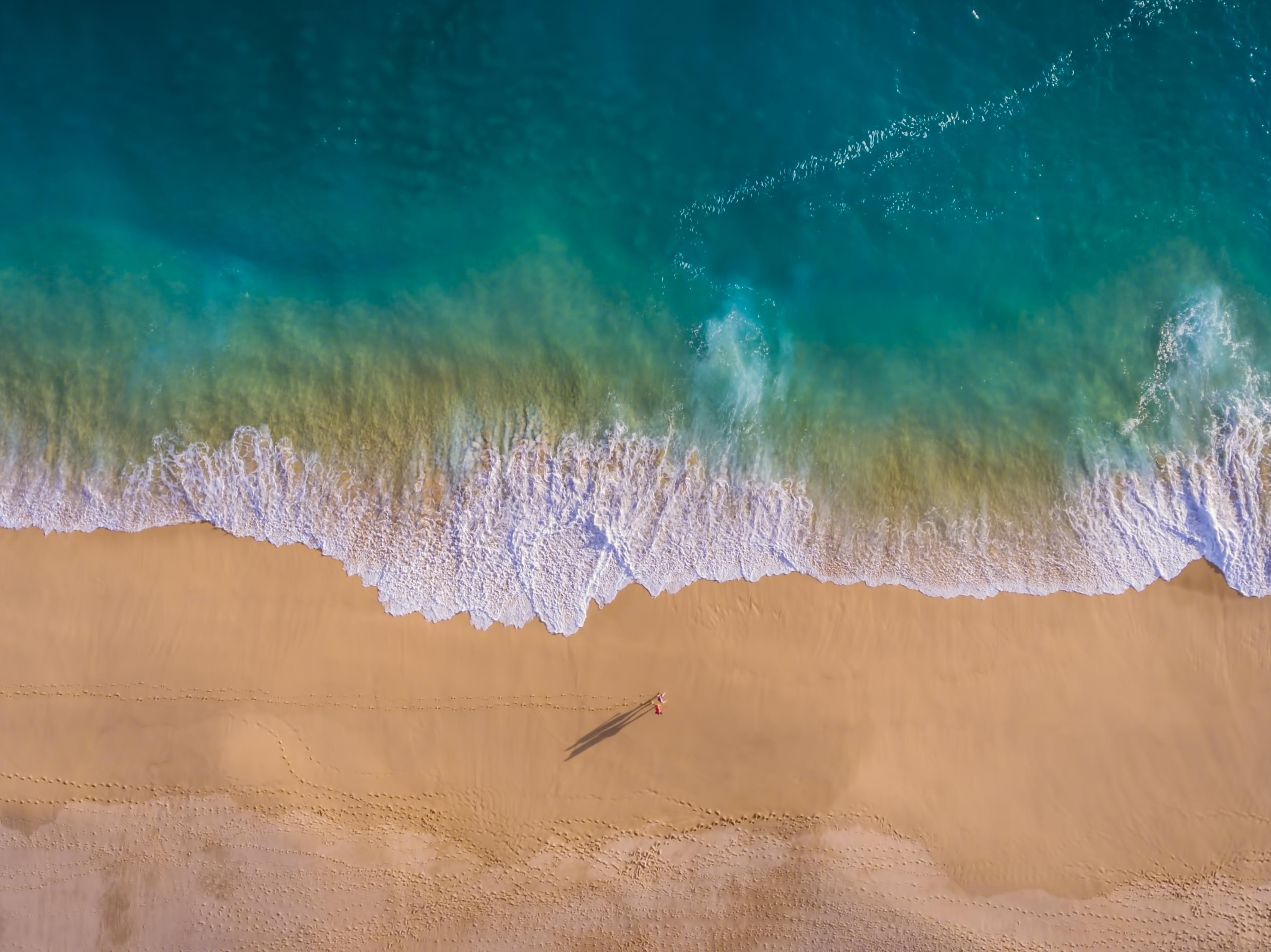 Aerial beach walk