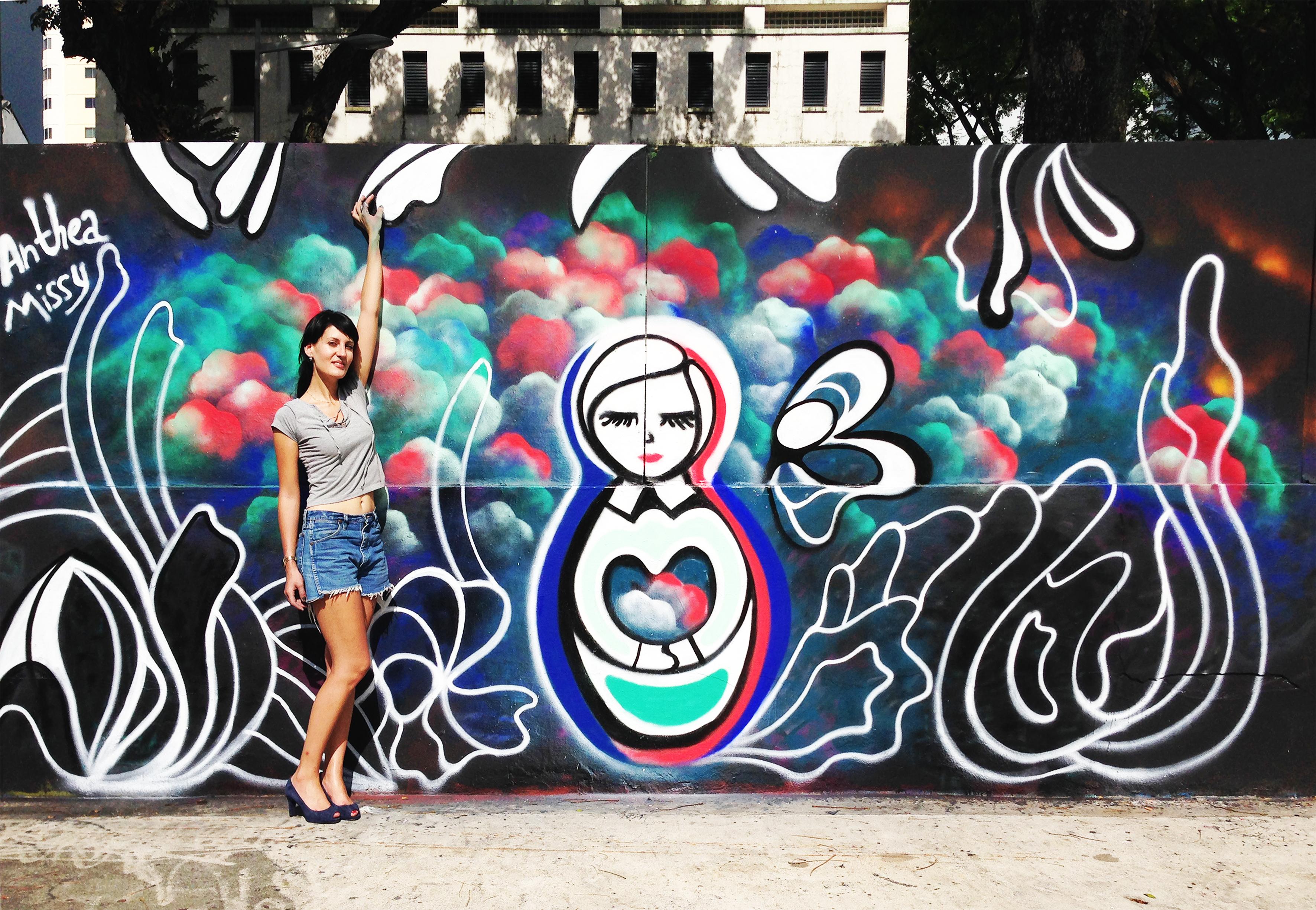 Singapore motion bloom anthea missy urban art street graffiti cute female contemporary 3