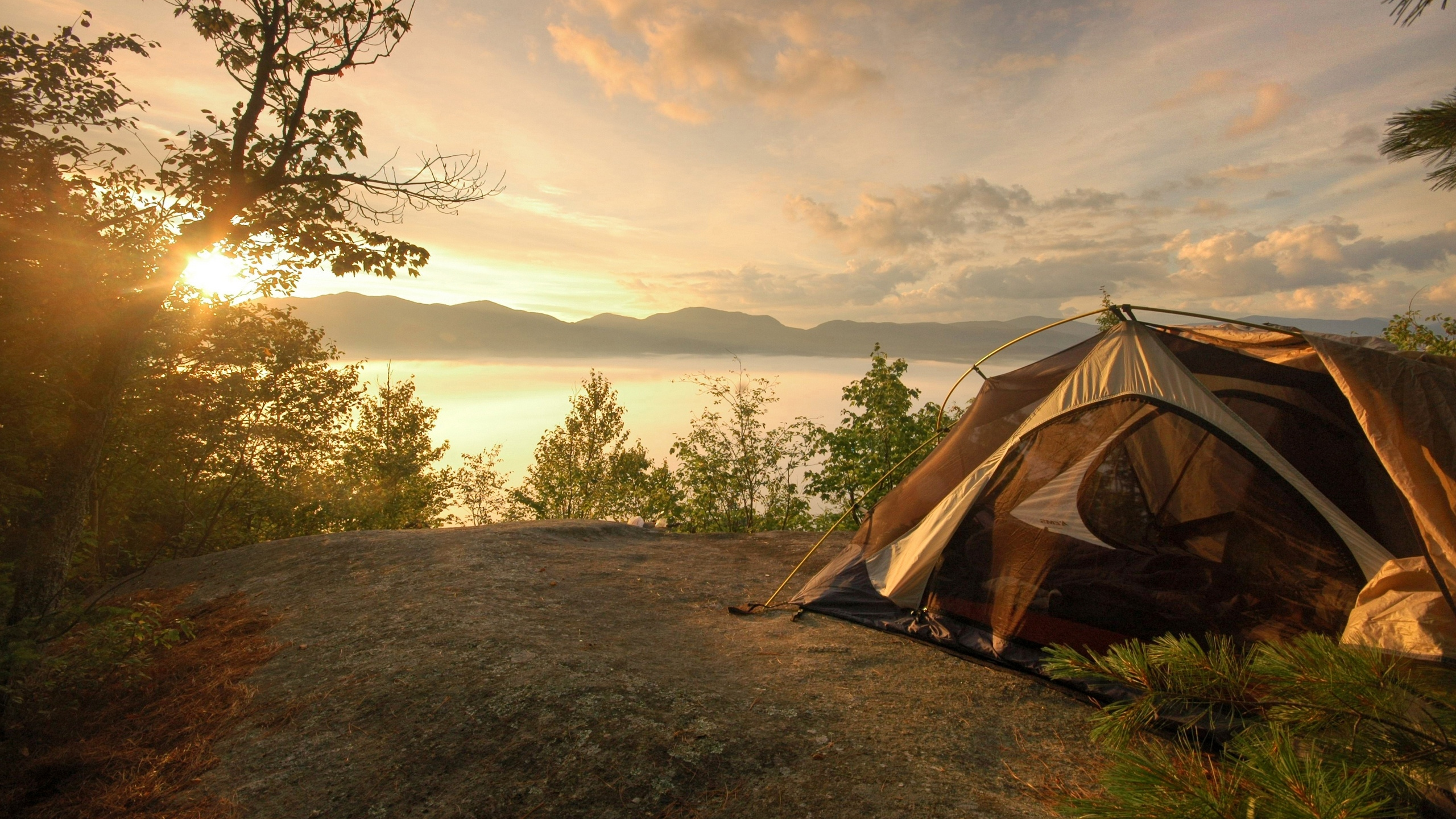 Tent coast lake decline romanticism sky 61524 2560x1440