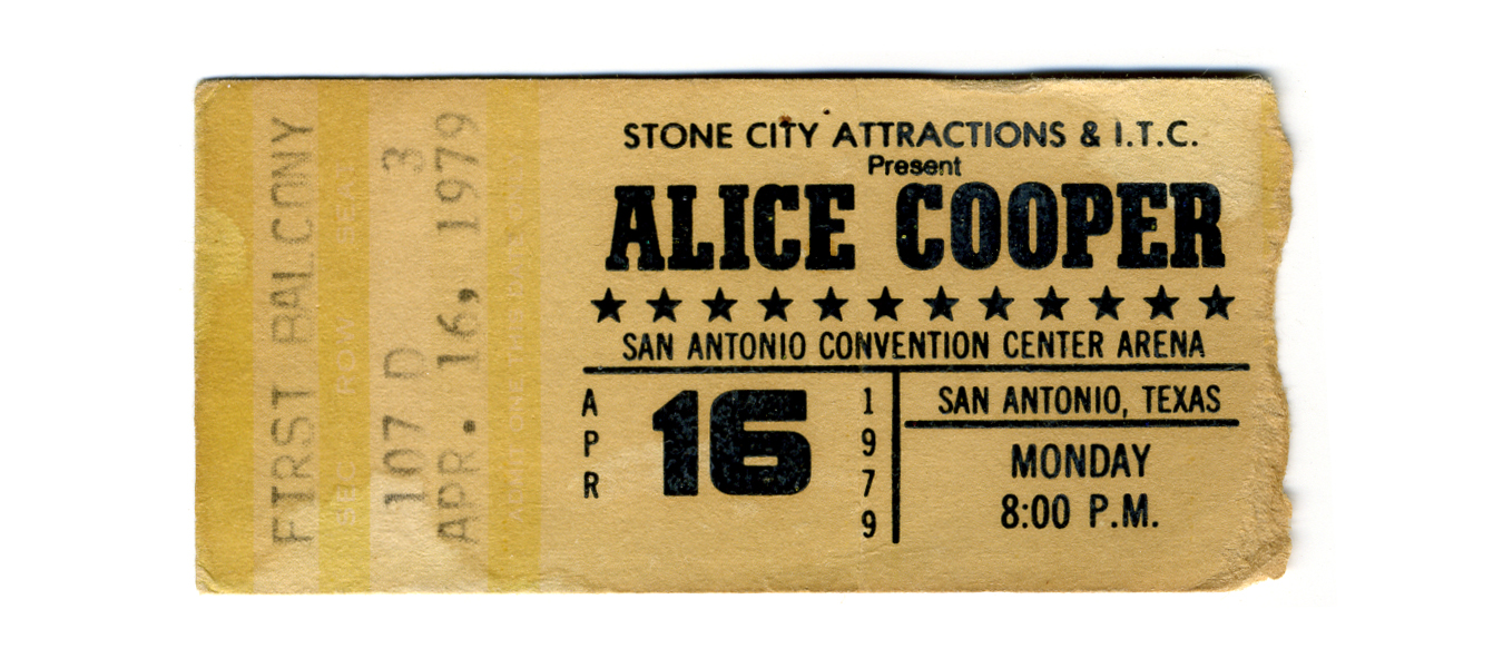 Ticket for alice cooper concert  79