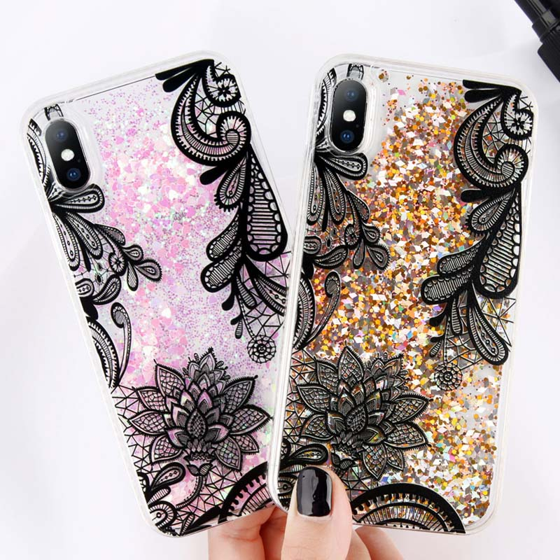 Uslion glitter bottle quicksand dynamic phone case for iphone x bling flowing love heart sequins cases 4