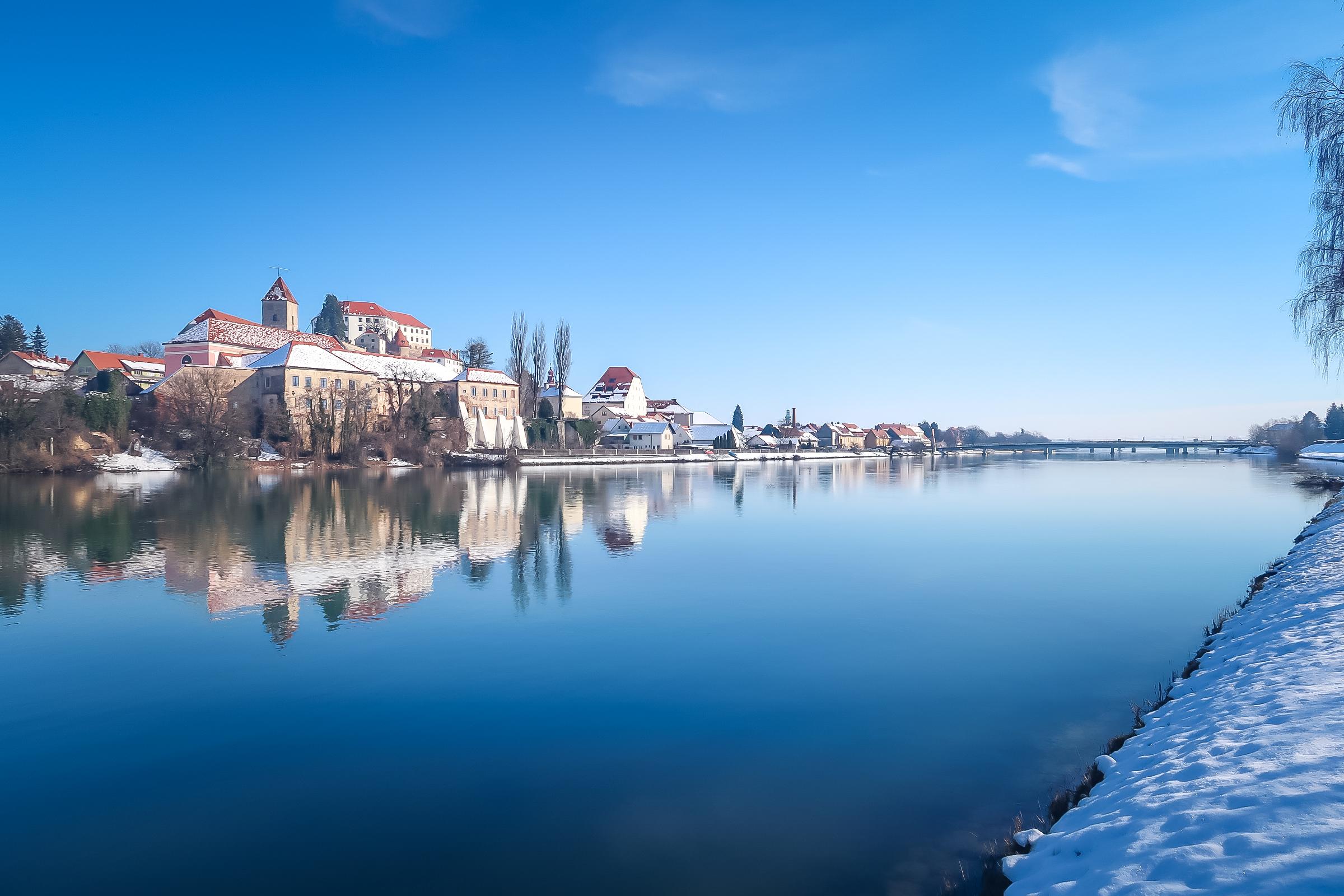 Slovenia ptuj castle with snow