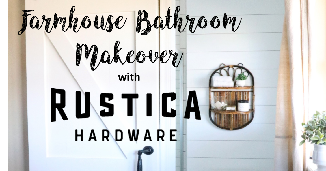 @redbrickonthelake's cover photo for 'Farmhouse Bathroom Makeover and Barn Door with Rustica Hardware'