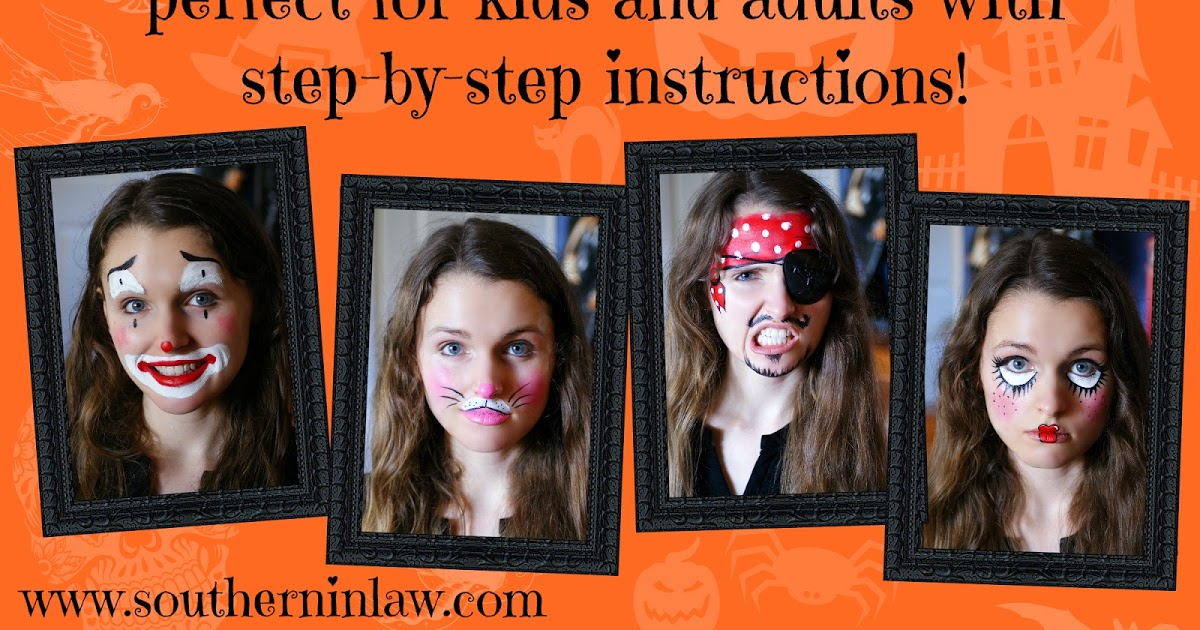 @southerninlaw's cover photo for 'DIY: Four Easy Halloween Face Painting Tutorials (for Kids and Adults!)'