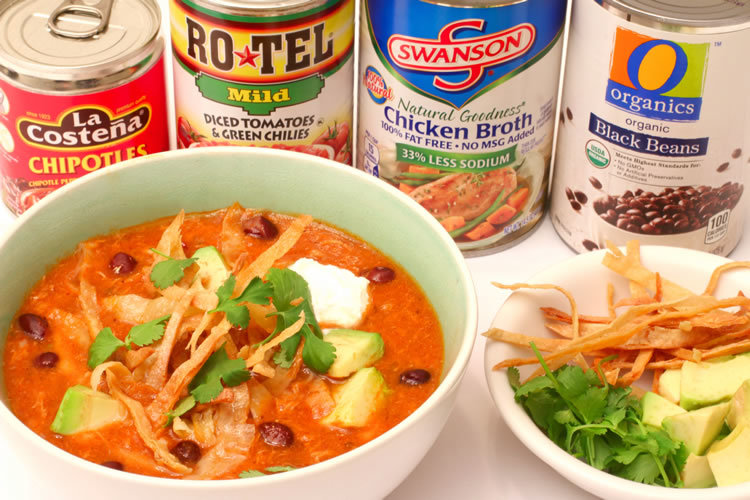 @onbetterliving's cover photo for 'Recipe: Spicy Tortilla Soup with Shredded Chicken and Black Beans'
