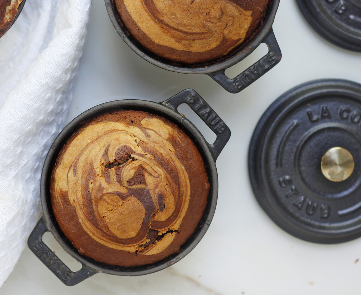 @greensmoothiegourmet's cover photo for 'Marble Swirl Chocolate Personal Cake Pots - Green Smoothie Gourmet'