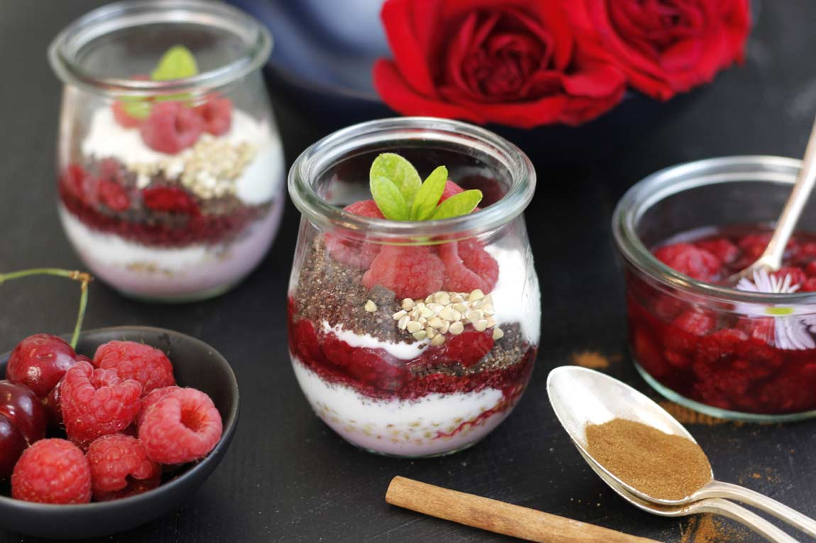 @greensmoothiegourmet's cover photo for 'Chai Chocolate Crumble Raspberry Parfait - Green Smoothie Gourmet'