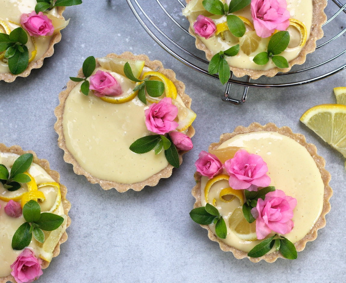 @greensmoothiegourmet's cover photo for 'Raw Meyer Lemon Lavender Tarts - Green Smoothie Gourmet'