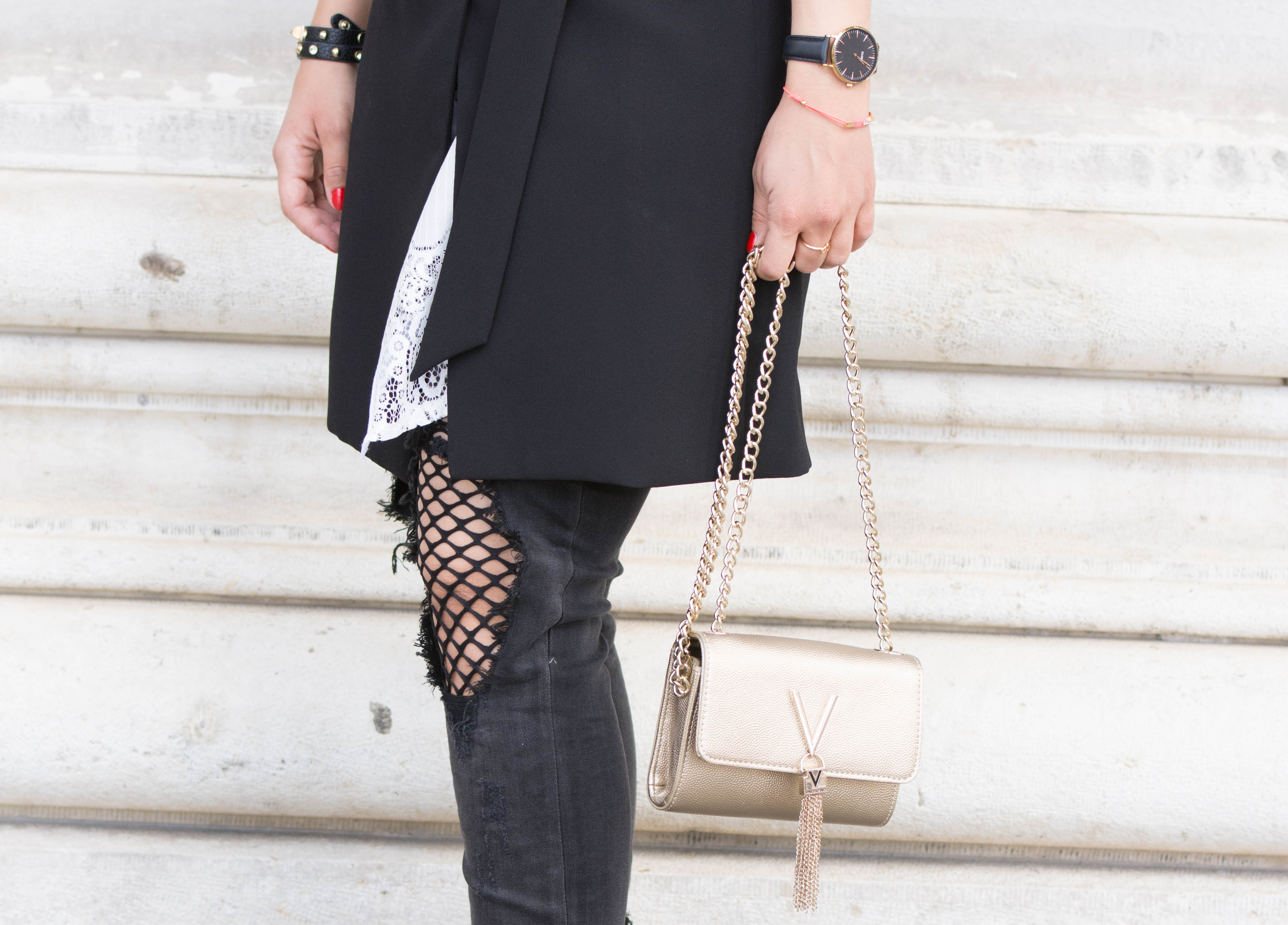 @fashiondeluxxe_com's cover photo for 'Black & White Look: Destroyed Jeans, Lace Blouse & Valentino Crossbody Bag'