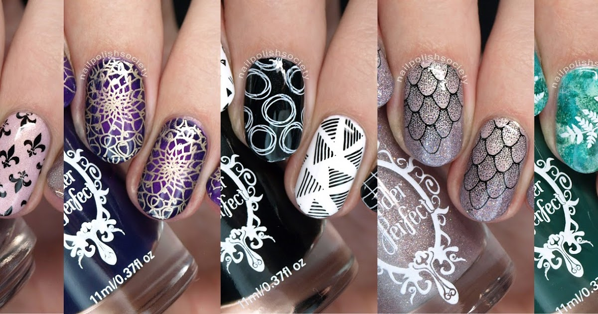 @nailpolishsociety's cover photo for 'Powder Perfect Kings and Castles, Floral, and 1980's Stamping Plates Review'