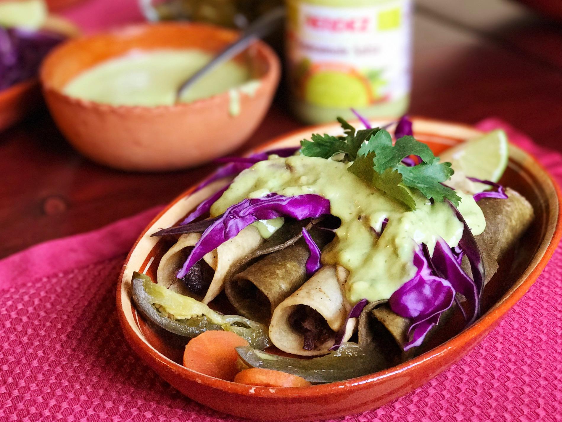 @sparklinglala's cover photo for 'Taquitos de Lengua with Nopal Corn Tortillas Recipe'