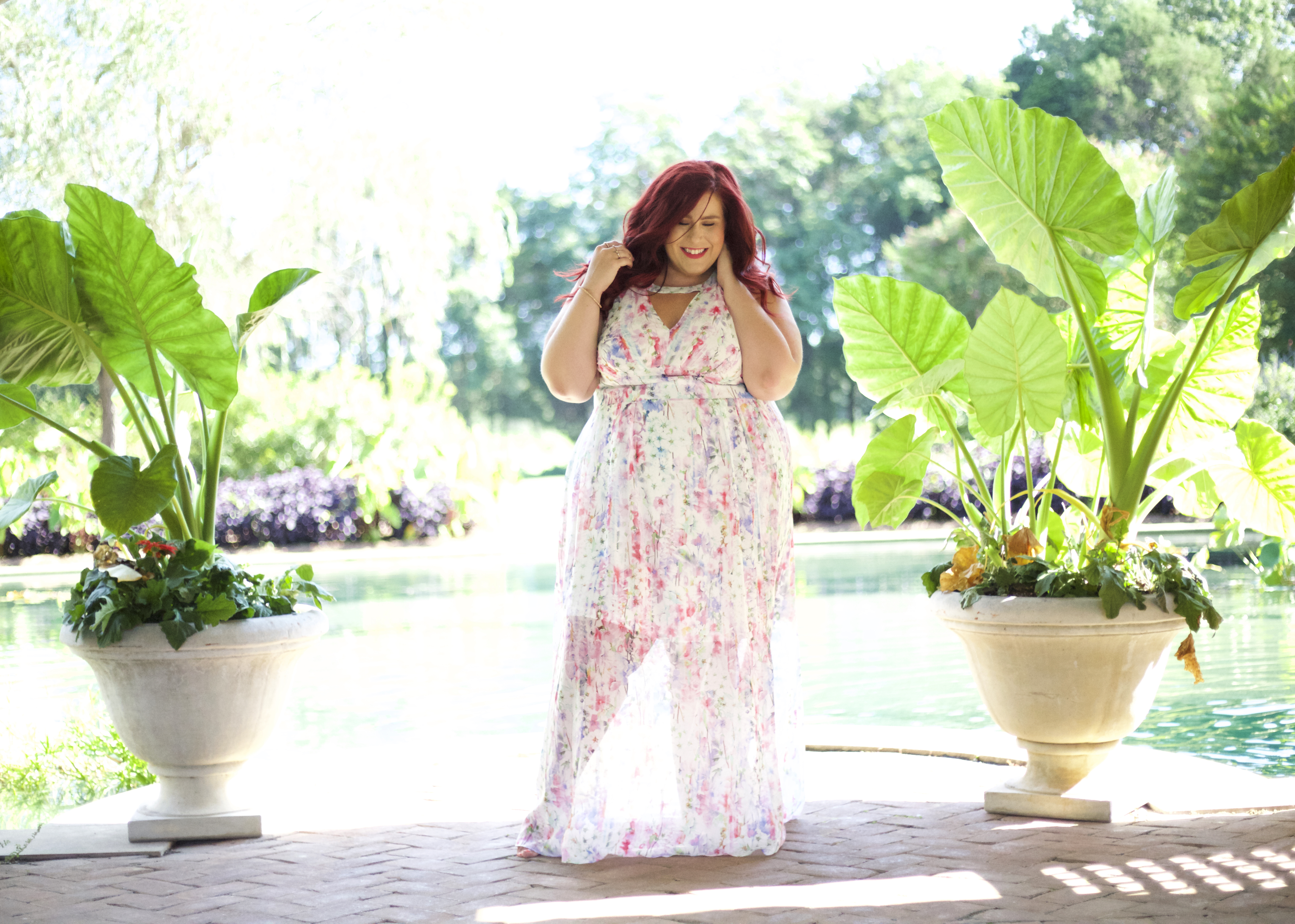 @curves_curlsandclothes's cover photo for 'Dreamy Floral Plus Size Maxi Dress | Curves, Curls and Clothes'