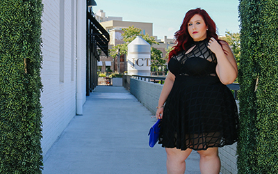 @curves_curlsandclothes's cover photo for 'Plus Size Geo Pattern Mesh Flare Dress | Curves, Curls and Clothes'