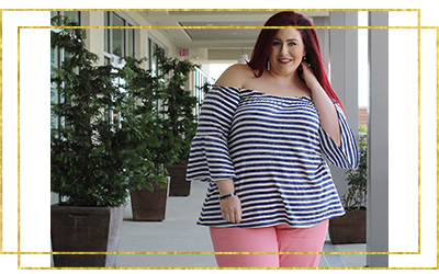 @curves_curlsandclothes's cover photo for 'Lane Bryant Casual Navy and Coral Look | Curves, Curls and Clothes'