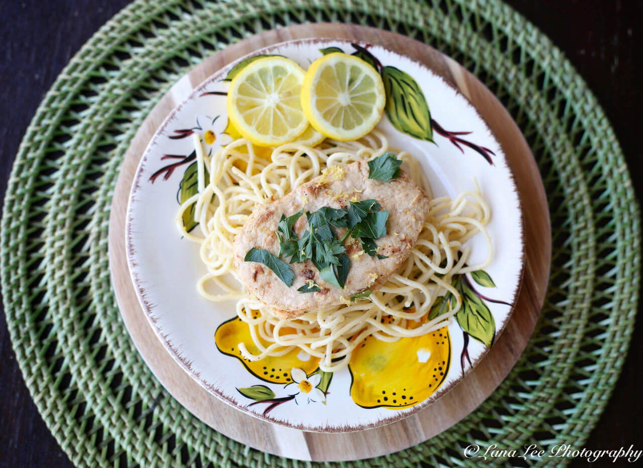 @veegmama's cover photo for 'Vegan Scallopini with Lemon-Garlic Pasta'