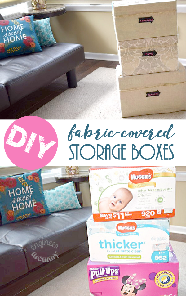 @engineermommyblog's cover photo for 'DIY Fabric-Covered Storage Boxes - Engineer Mommy'