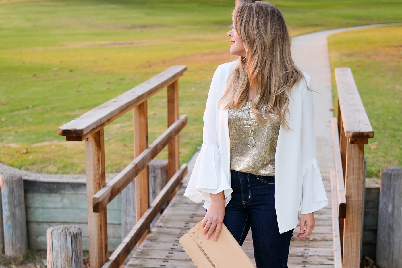 @deboradahl's cover photo for 'Exaggerated Bell Sleeve White Blazer - Debora Dahl'