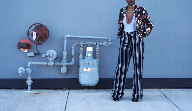 @bahamianista's cover photo for 'Floral Bomber Jacket + Striped Pant'