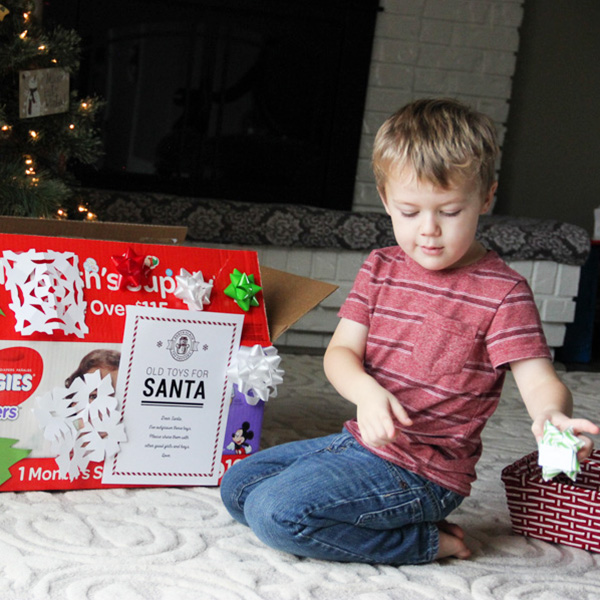 @mommygonehealthy's cover photo for 'Teaching Kids the Giving Spirit | Santa Donation Toy Box Printable'