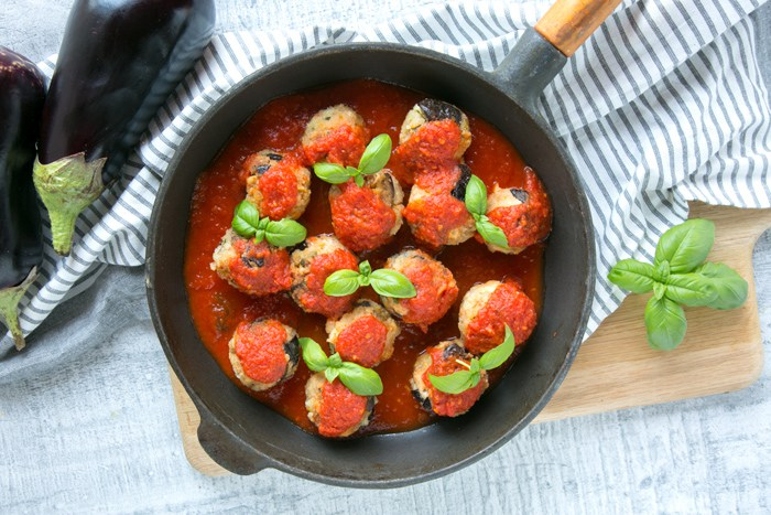 @thepetitecook's cover photo for 'Vegetarian Aubergine Meatballs with Feta Cheese - The Petite Cook'