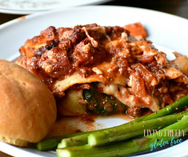 @livingfreelyglutenfree's cover photo for 'Gluten Free Lasagna Recipe (Dairy Free Option). Rich and Hearty.'