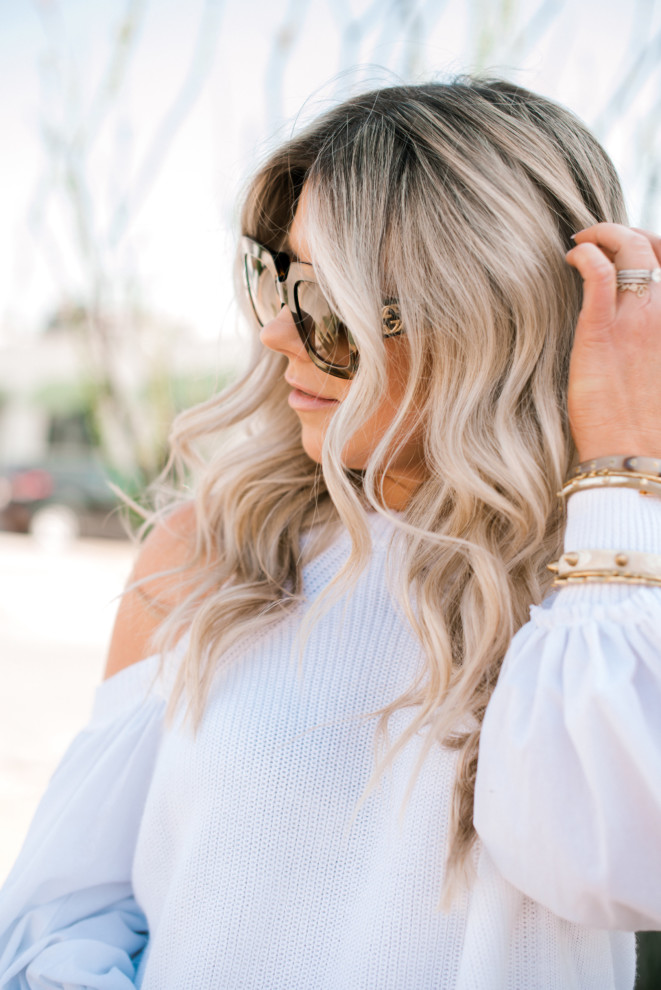 @likesofablonde's cover photo for 'Enlighten Dallas & White Open Shoulder Top'