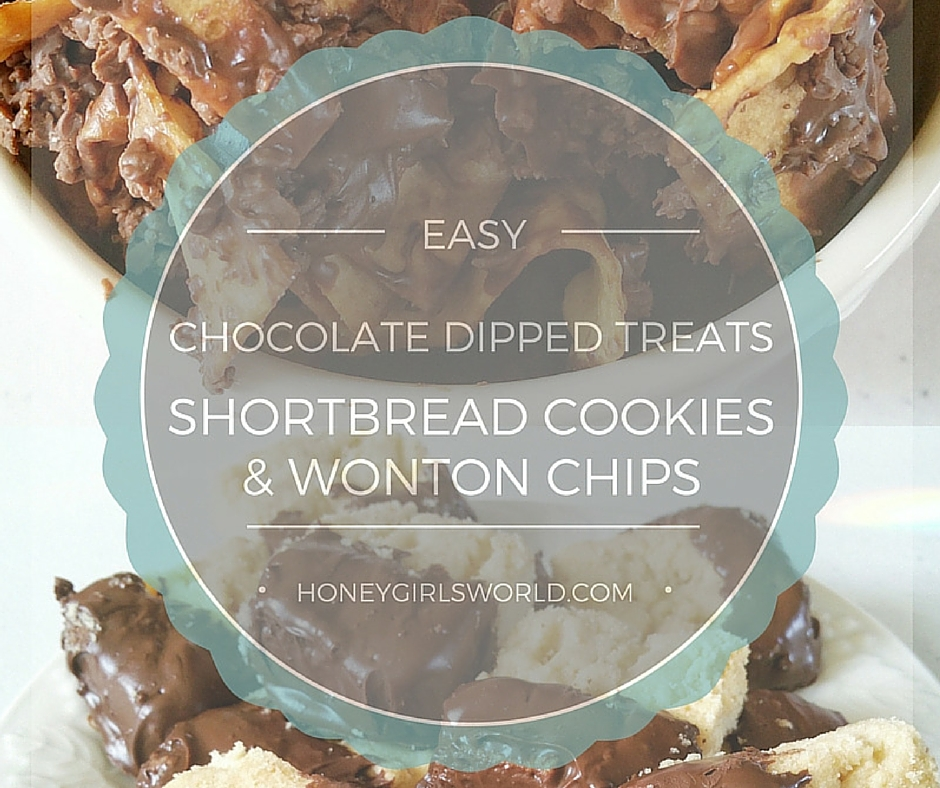 @honeygirlk's cover photo for 'Easy Chocolate Dipped Shortbread Cookies and Wonton Chips Recipe With Hershey's - Honeygirl's World - Lifestyle & Beauty Blog'
