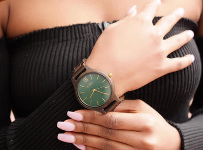 @iam.gabrielle_'s cover photo for 'My Emerald Faced Unique Wooden Watch'