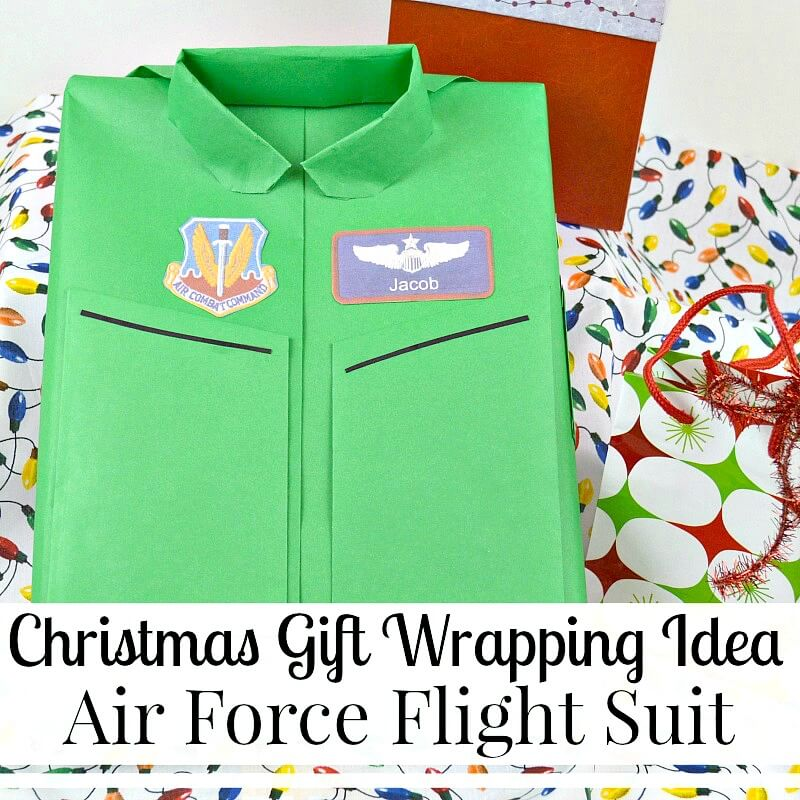 @organized31's cover photo for 'Christmas Gift Wrapping Idea - Air Force Flight Suit - Organized 31'