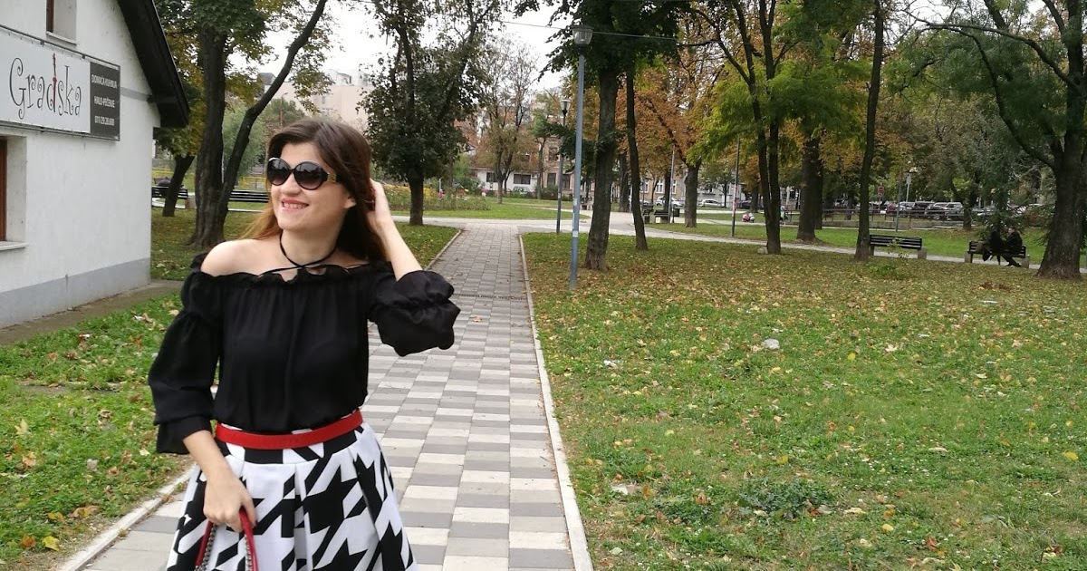 @bambolai's cover photo for 'BambolaI: Black & White with Pop of Red // Off-the-Shoulder Blouse / Midi Skirt'