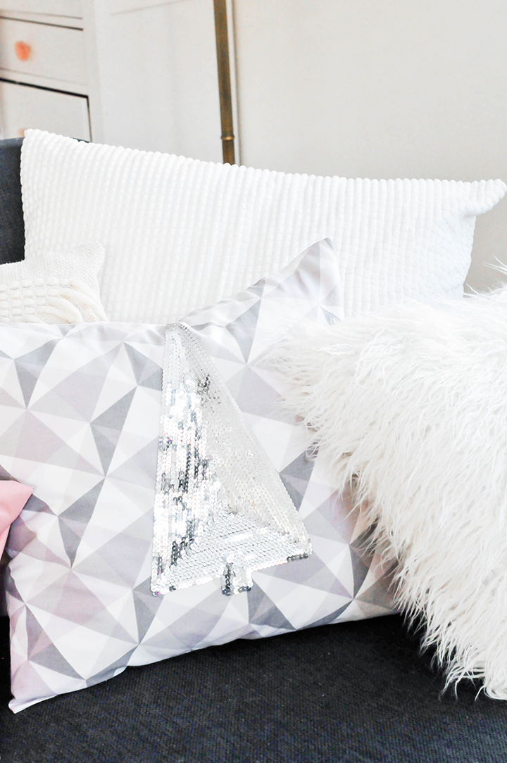 @theproperblog's cover photo for 'Make It DIY Holiday Sequin Pillows - PROPER'