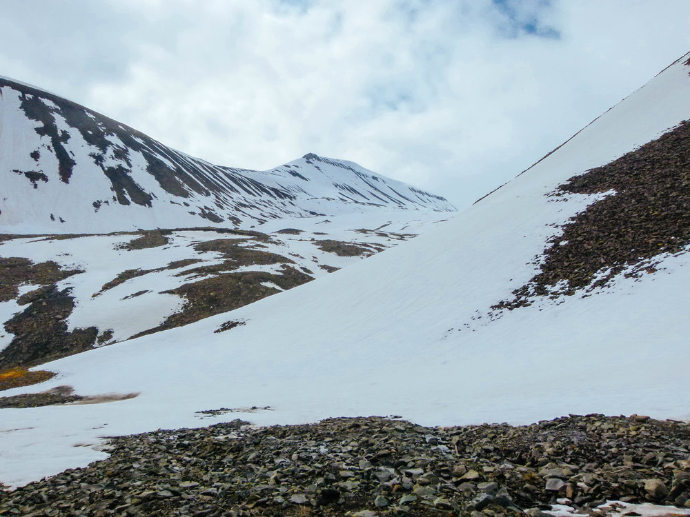 @nordicwanders's cover photo for 'A Snowy Adventure in the Middle of June – Hiking the Mountains of Longyearbyen, Svalbard'