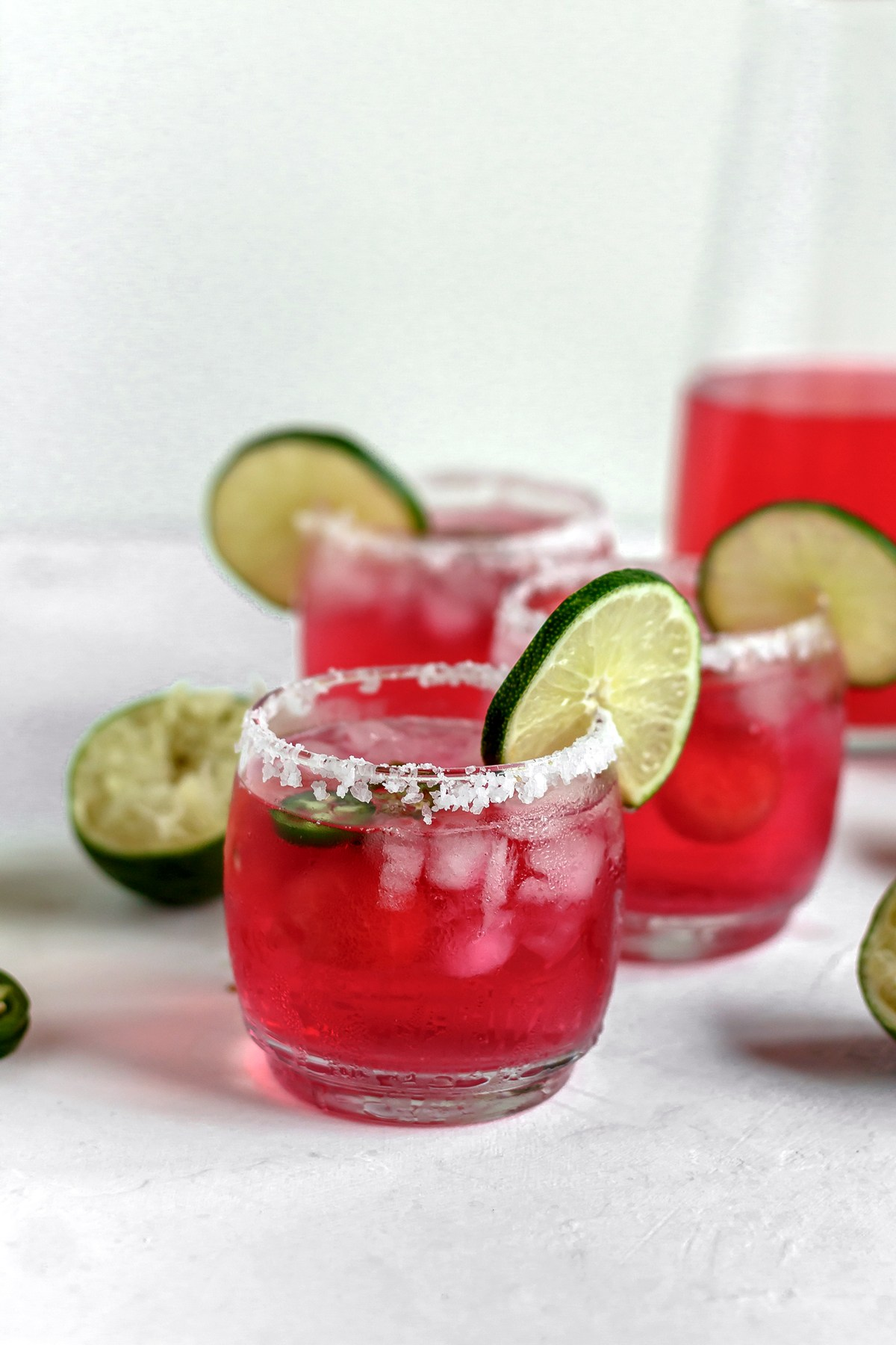 @bakedambrosia's cover photo for 'Skinny Jalapeño Watermelon Margaritas - Baked Ambrosia'
