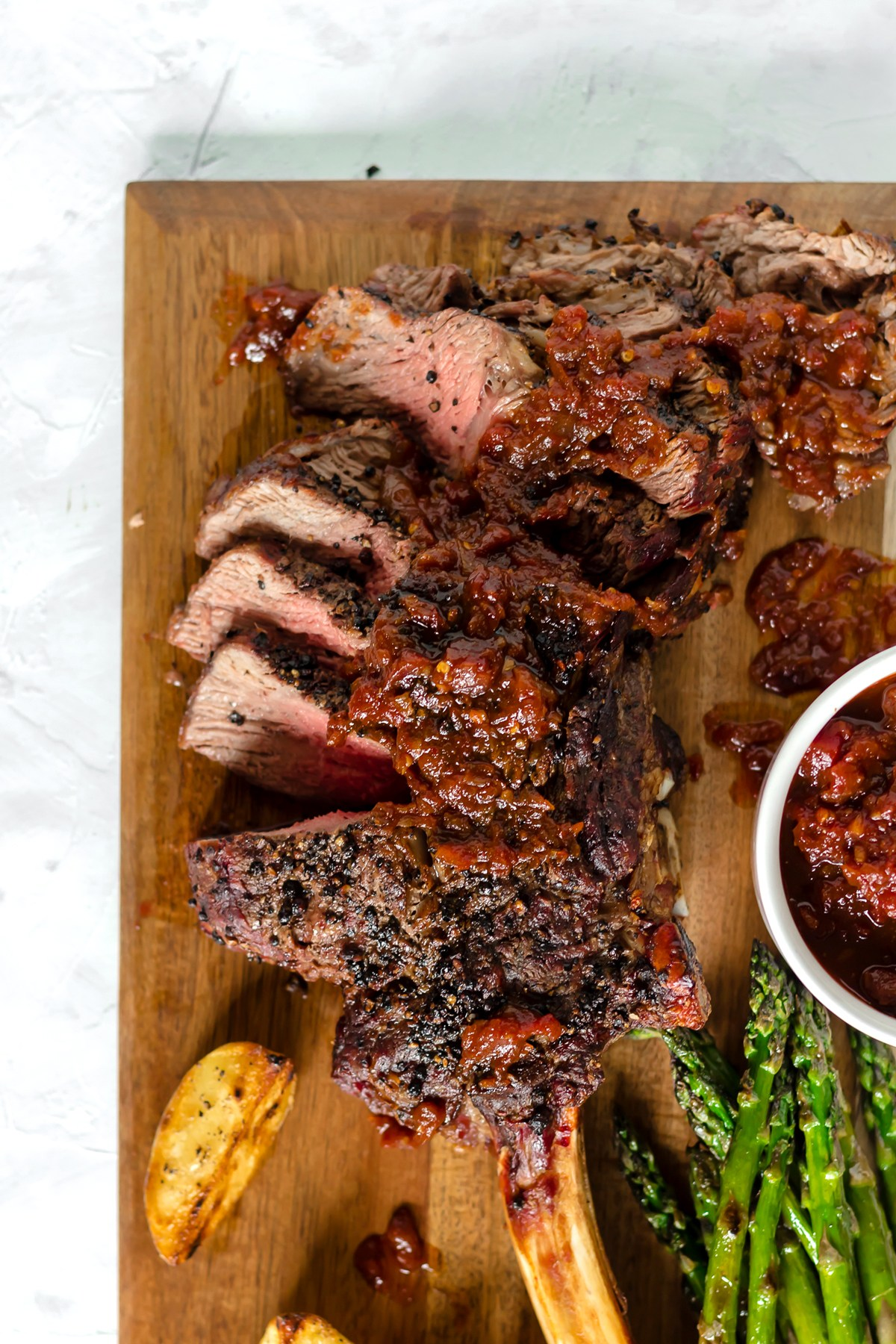 @bakedambrosia's cover photo for 'Grilled Black Peppercorn Tomahawk Ribeye with Spicy Barbecue Relish - Baked Ambrosia'