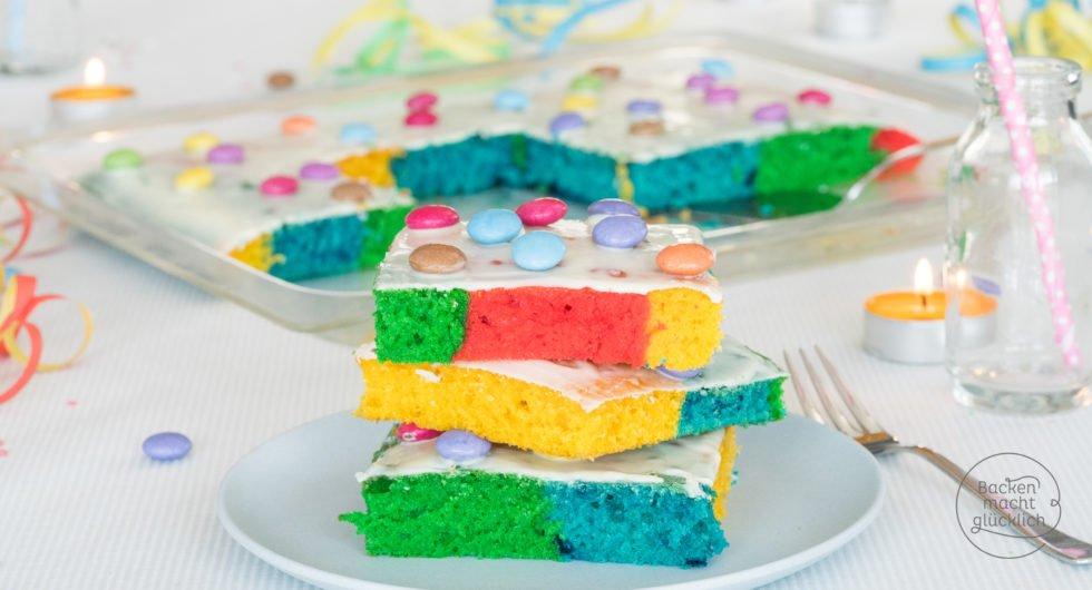 @backenmachtgluecklich.de's cover photo for 'Bunter Regenbogenkuchen vom Blech | Backen macht glücklich'