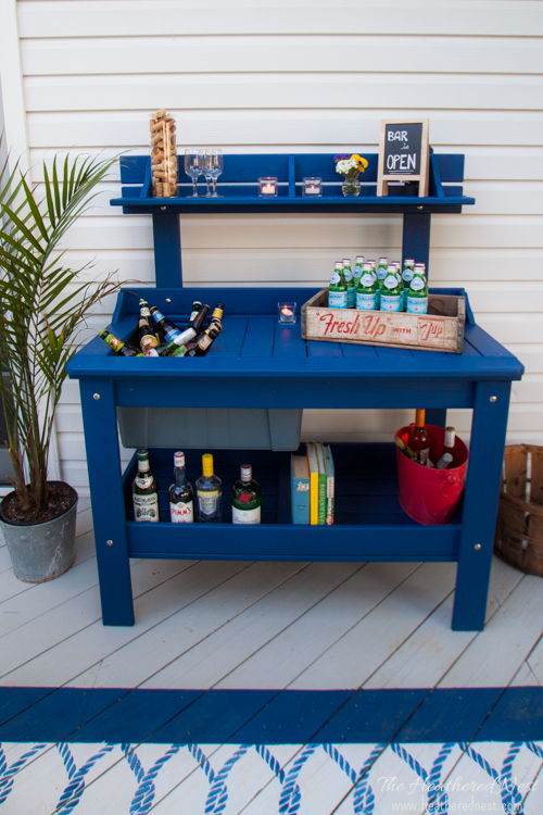 @heathered_nest's cover photo for 'Outdoor potting bench turns DIY bar cart. A Metamorphosis. | The Heathered Nest'