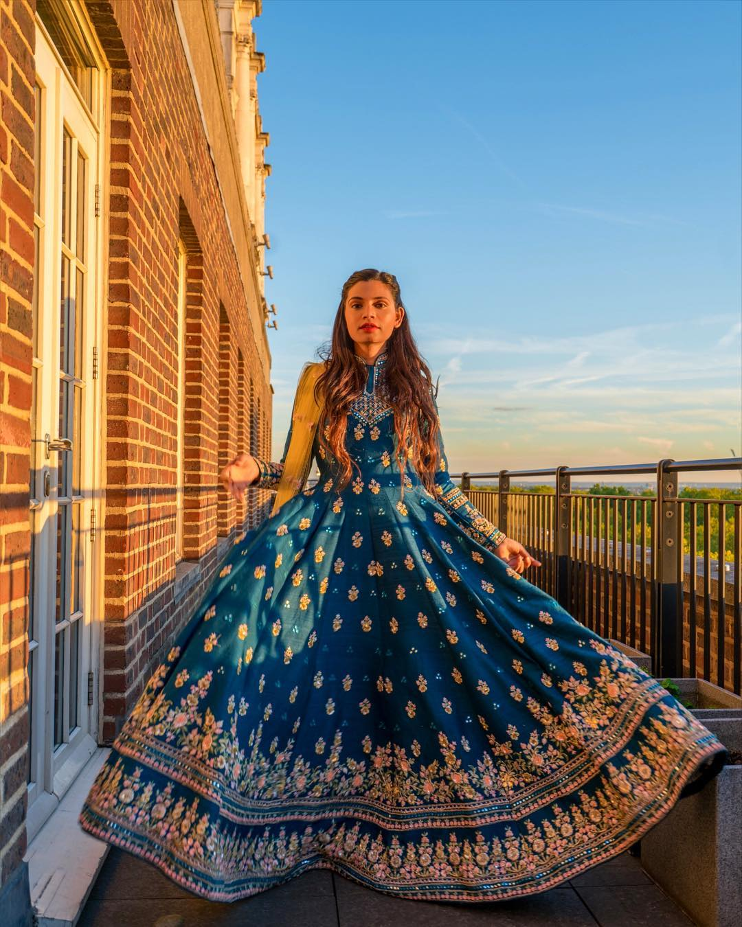 "@meghabajaj's cover photo for 'MEGHA BAJAJ on Instagram: ""Sunset hues, Heritage architecture and a Persian blue anarkali that blended proficiently with the piece of art of a skyline.. Here's to…""'"
