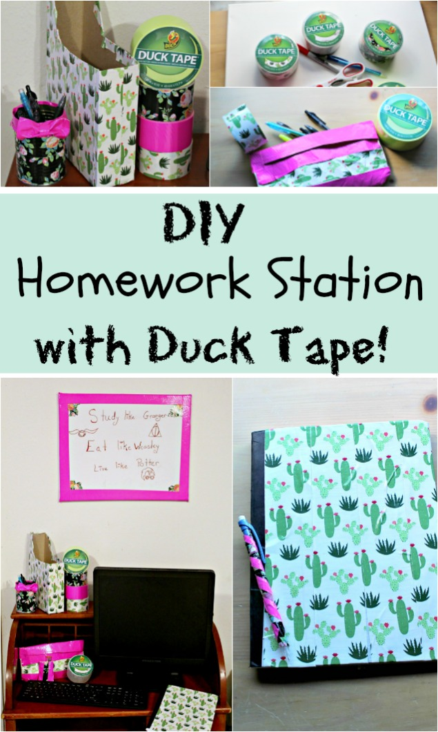 @meagan_gets_real's cover photo for 'Homework Station DIY | Duck Tape Crafts for Back to School'