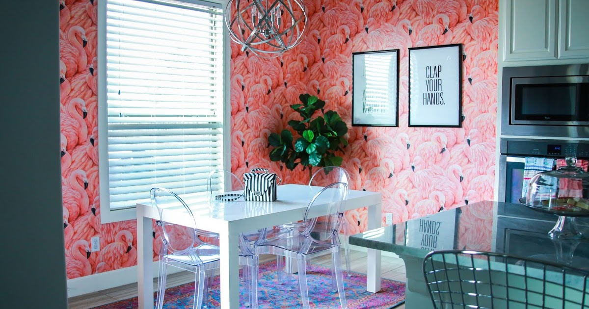 @jenkubes's cover photo for 'House of Kubes: Flamingo Wallpaper | Kitchen Nook Makeover'