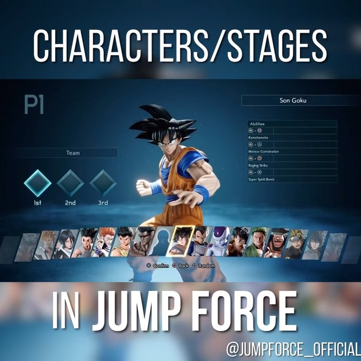 """@jumpforce_official's cover photo for 'Official Xbox/Ps4/Pc on Instagram: """"What do you guys think of the layout for the characters/stages ? 🎮💕 Follow me <@JumpForce_Official> for more updates/gameplay of #JUMPFORCE.""""'"""