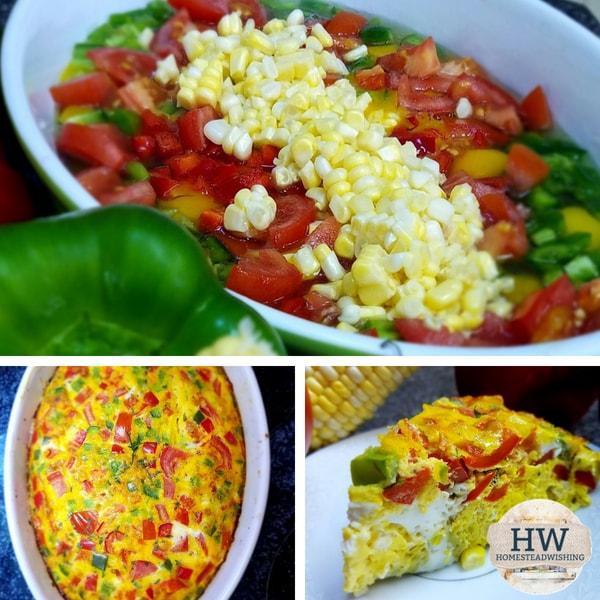 @homesteadwishing's cover photo for 'Fresh Vegetable Frittata - Corn Tomato Bell Pepper Frittata'