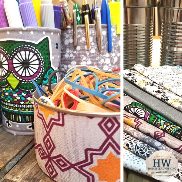 @homesteadwishing's cover photo for 'DIY Upcycled Tin Can Organizers'