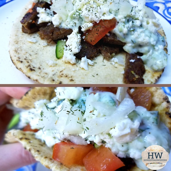 @homesteadwishing's cover photo for 'Lamb Gyros With Tzatziki Sauce'