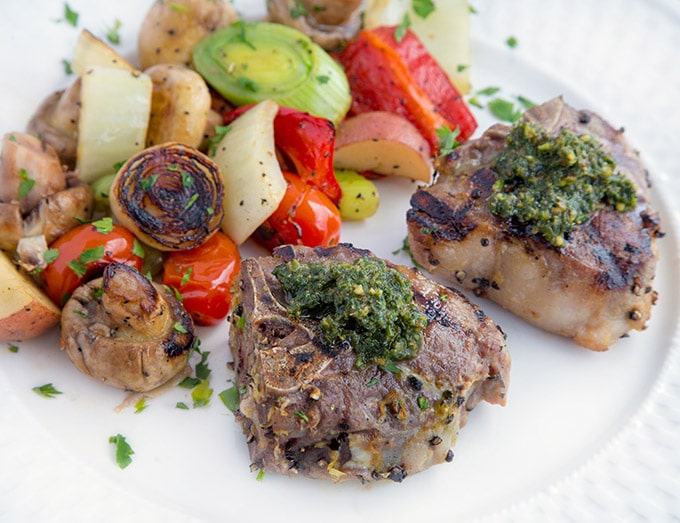 @askchefdennis's cover photo for 'Marinated Grilled Lamb Chops with a Mint Pesto - Chef Dennis'