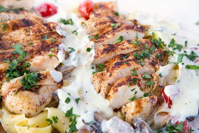 @askchefdennis's cover photo for 'Grilled Chicken Alfredo Recipe with Pappardelle - Chef Dennis'