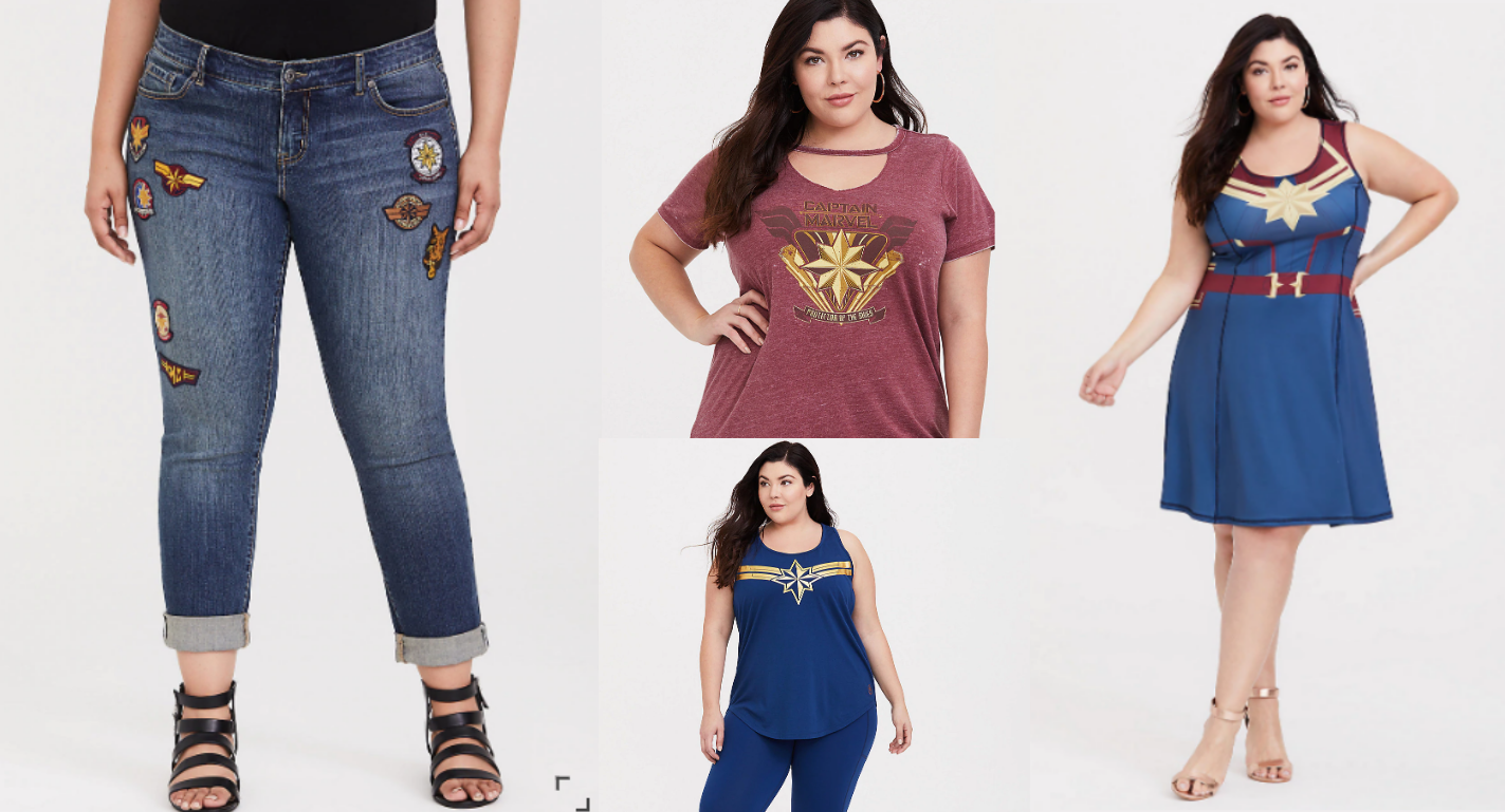 @plussizenerd's cover photo for 'Plus Size Captain Marvel Clothes That Ain't Skrull-in' Around - Plus Size Nerd'