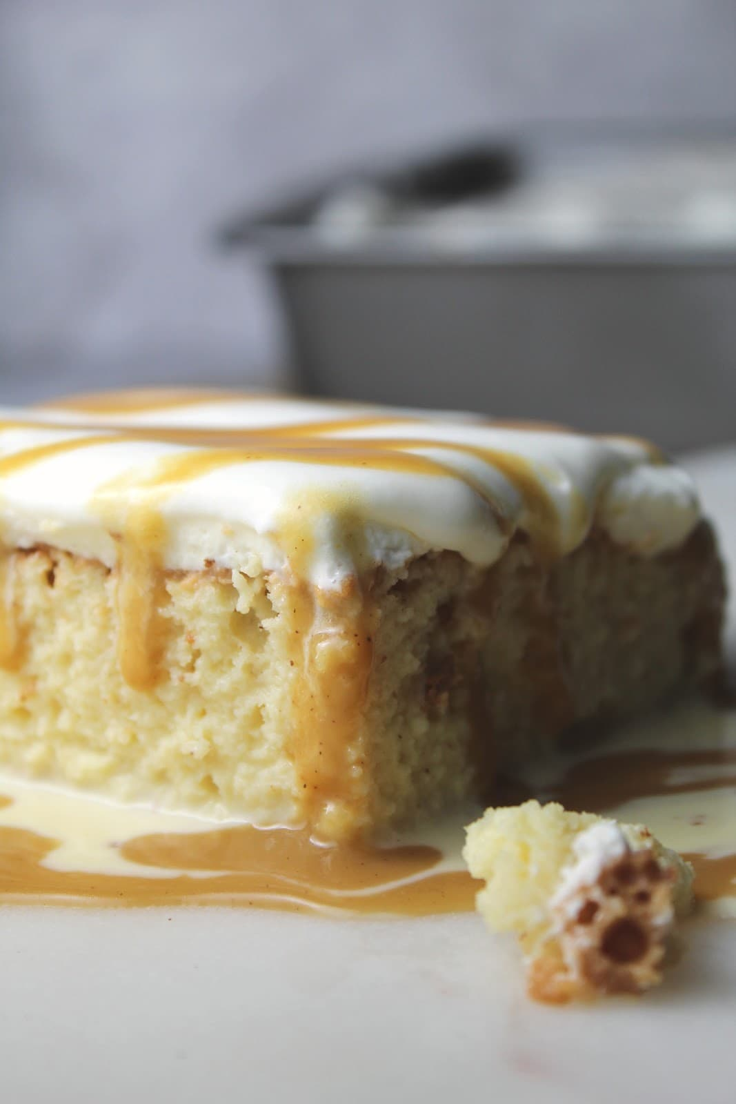 @biculturalfamilia's cover photo for 'Eggnog Tres Leches Cake with Eggnog Butterscotch Sauce'