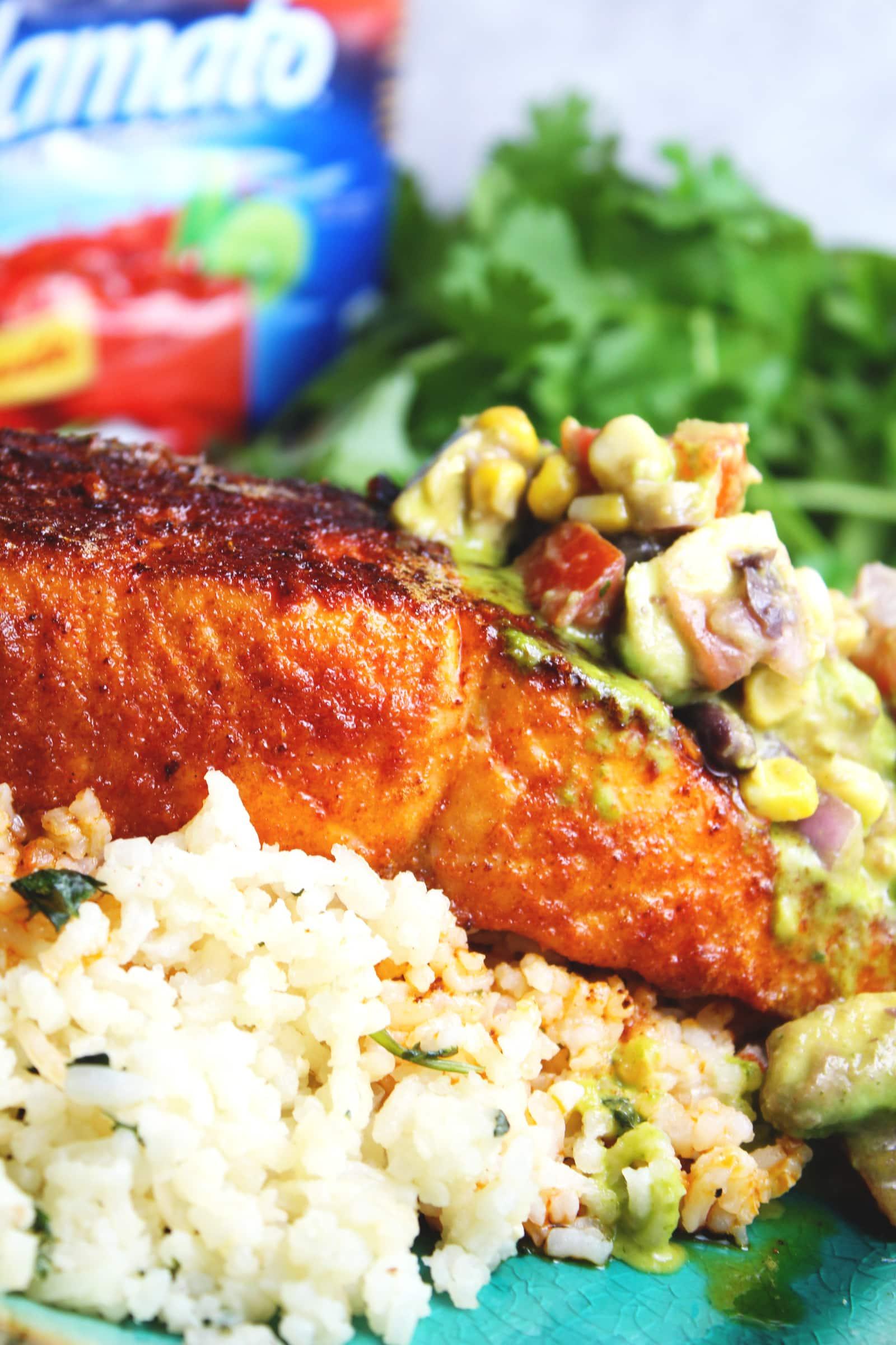 @biculturalfamilia's cover photo for 'Spicy Salmon with Cilantro Lime Rice & Avocado Black Bean Salsa'