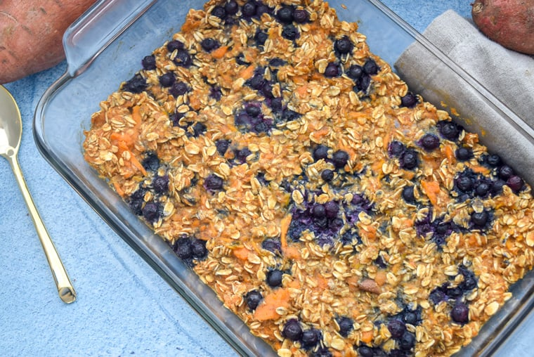 @bucketlisttummy_rd's cover photo for 'Sweet Potato Blueberry Baked Oatmeal'