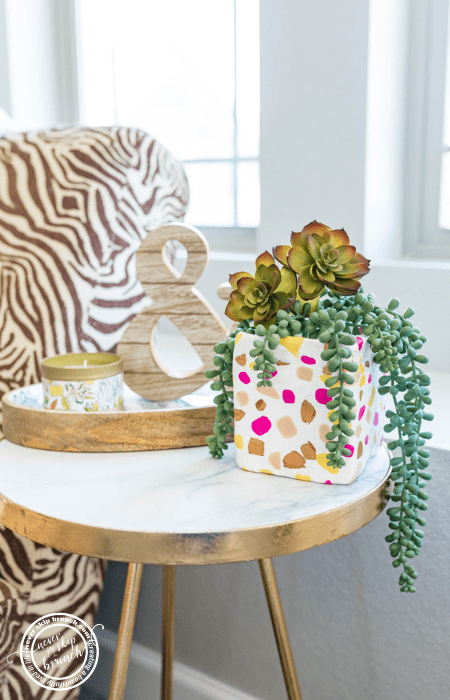 @neverskipbrunch's cover photo for 'DIY Terrazo Planter from a Carton + Recycle your Cartons! » NEVER SKIP BRUNCH'